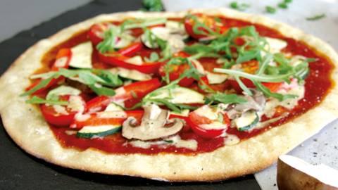 Pizza vegana con funghi