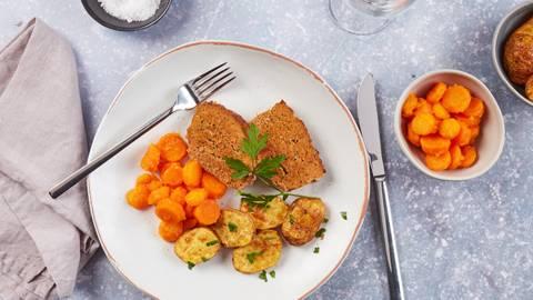 Polpettone con patate e carote glassate