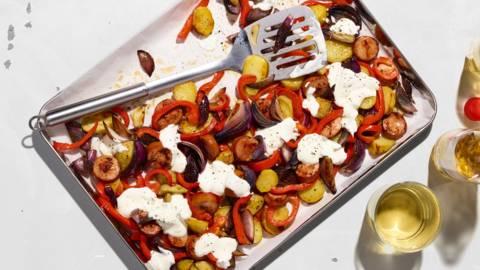 Teglia di salsicce e patate