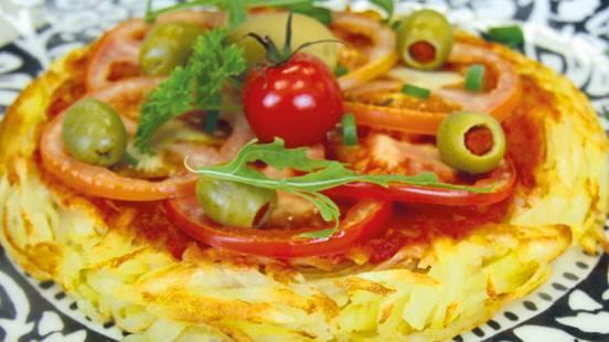 Rösti vegani con olive e salsa di pomodoro