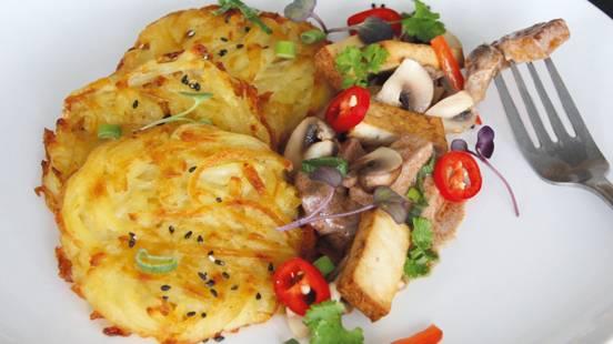 Sminuzzato vegano con tofu e rösti