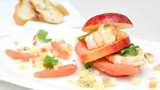 Burger di mele e gamberetti