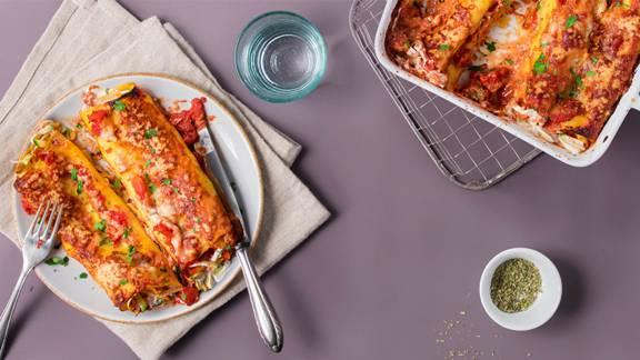 Cannelloni al forno ripieni di zucchine