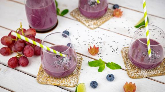 Smoothie d'uva e mirtilli