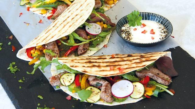 Tortilla con carne di manzo da pascoli bio