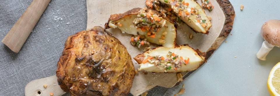 Sedano rapa al forno con vinaigrette di Champignon