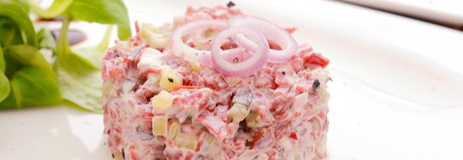 Tartare di carne affumicata di manzo