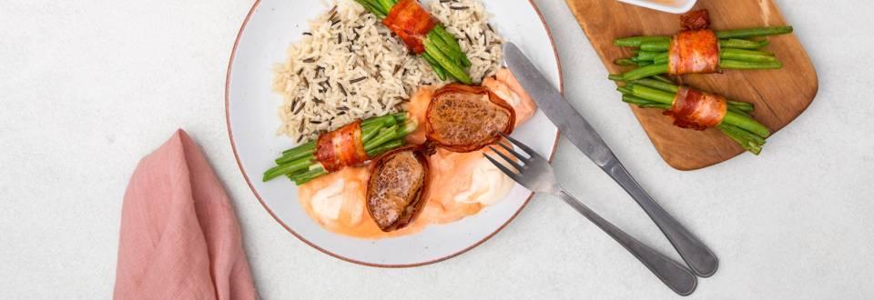 Filetto in crosta con riso selvatico e fagiolini alla pancetta