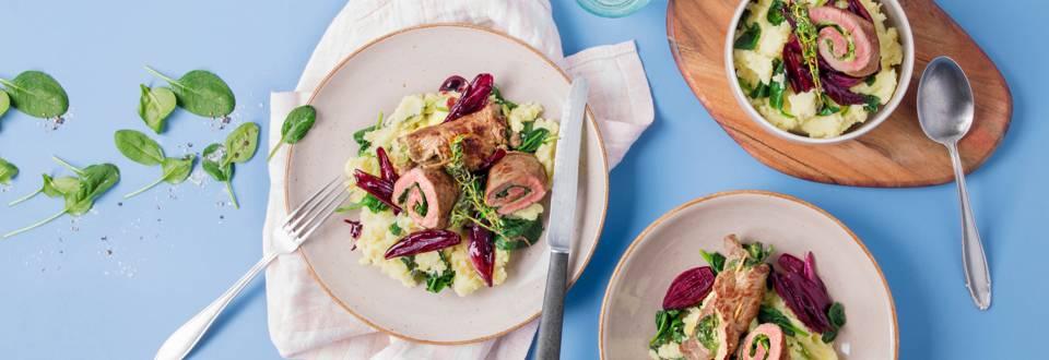 Rotoli di manzo con purè di patate / spinaci e scalogni al vino rosso