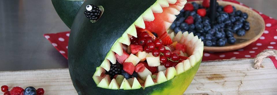 Squalo di anguria con macedonia di frutta